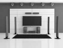 Black and white home theater stock image