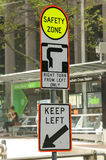 """Black and white """"Hook Turn"""" sign; a road cycling and traffic procedure. Black and white """"Hook Turn"""" sign; a road cycling and traffic control manoeuvre Stock Photos"""