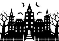 Black and white of horror castel with dead tree and bats flaying. For halloween background. Vector illustration Stock Images
