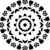 Sad face art, black flowers, Black and white floral leaf line art Mandala round design Illustration, Horror type. royalty free illustration