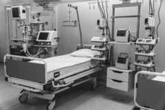 Black and white. hospital emergency room intensive care. modern equipment, concept of healthy medicine, treatment, inpatient royalty free stock photography