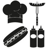 Black and white hot dog cooking silhouette set. Food themed vector illustration for gift card certificate sticker, badge, sign, stamp, logo, label, icon, poster Stock Photos