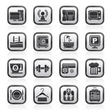 Black an white hotel Amenities Services Icons Stock Images
