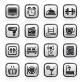Black and white hotel and Motel facilities icons Stock Image
