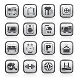 Black and white hotel and motel icons Royalty Free Stock Images
