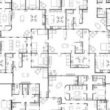 Black and white house floor plan with interior details, seamless pattern. On white Royalty Free Stock Image