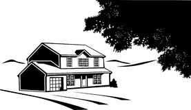 Black and white house on a prairie vector illustration