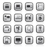 Black and white household appliances and electronics icons. Vector, icon set vector illustration