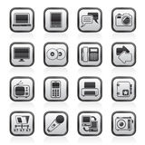 Black and white household appliances and electronics icons. Vector, icon set stock illustration