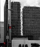 Black and white Houston Texas downtown mirror buildings Royalty Free Stock Image