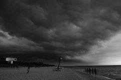 Black and white. How loks the beach when the storm came royalty free stock image