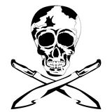 Black and white human skull with machete. Tattoo Skull. Vector of cool human tattoo skull with machete, shadows in black and white colors to the Day of The Dead Stock Photos