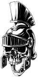 Black and white human skull in roman helmet Royalty Free Stock Image