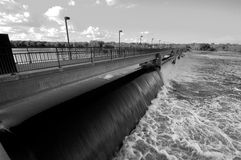 Black and White hydroelectric Dam. A Black and White hydroelectric Dam on the Mississippi river Stock Image