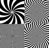 Black and White Hypnotic Psychedelic Spiral with Radial Rays, Twirl Background Collection Set Pattern. Vector Royalty Free Stock Image