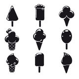 Black and white ice cream icons Royalty Free Stock Photography