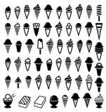 Black and white ice cream icons, vector  Stock Photo