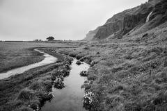 Black and white icelandic landscape Stock Images
