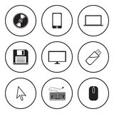 Black and white icon for computer and technolody concept Stock Images