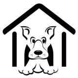 Doghouse Icon. Black and white icon of a dog sitting in dog house looking out royalty free illustration