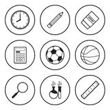 Black and white icon for school and sport concept Royalty Free Stock Photo