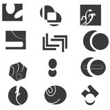 Black and white icon set. A collection or set of black on white artistic icons with a variety of abstract designs Royalty Free Stock Photography