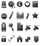 Black and white icons. Set of 20 black and white icons in white background Stock Photos