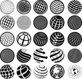 Black and white icons globe Royalty Free Stock Image