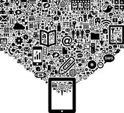 Black and white icons and tablet Stock Image