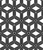 Black and white illusive abstract geometric seamless 3d pattern. Stock Image