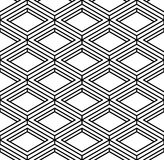 Black and white illusive abstract geometric seamless 3d pattern. Royalty Free Stock Images