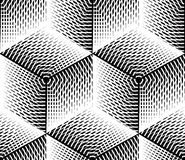 Black and white illusive abstract geometric seamless 3d pattern. stock illustration