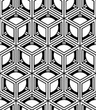 Black and white illusive abstract geometric seamless 3d pattern. Royalty Free Stock Photography