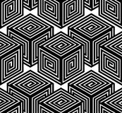 Black and white illusive abstract geometric seamless 3d pattern. Stock Photo