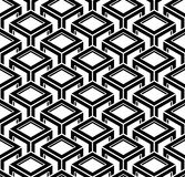 Black and white illusive abstract geometric seamless 3d pattern. Vector stylized infinite backdrop, best for graphic and web design Stock Image