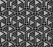 Black and white illusive abstract geometric seamless 3d pattern. Vector stylized infinite backdrop, best for graphic and web design Royalty Free Stock Images