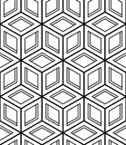 Black and white illusive abstract geometric seamless 3d pattern. Vector stylized infinite backdrop, best for graphic and web design Stock Images