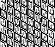 Black and white illusive abstract geometric seamless 3d pattern. Vector stylized infinite backdrop, best for graphic and web design Stock Photography
