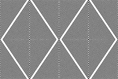Black and white illusive abstract seamless pattern with geometri. C figures, rhombs. Vector symmetric simple backdrop Royalty Free Stock Images