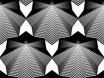 Black and white illusive abstract seamless pattern with geometri Stock Photos