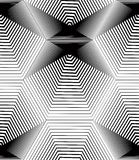 Black and white illusive abstract seamless pattern with geometri. C figures. Vector symmetric simple backdrop Stock Photography