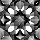 Black and white illusive abstract seamless pattern with overlapp. Ing shapes. Vector symmetric backdrop, kaleidoscope ornate Stock Photo