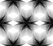 Black and white illusive abstract seamless pattern with overlapp. Ing shapes. Vector symmetric backdrop, kaleidoscope ornate Stock Photos