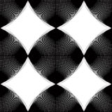 Black and white illusive abstract seamless pattern with overlapp. Ing shapes. Vector symmetric backdrop, kaleidoscope ornate Stock Photography
