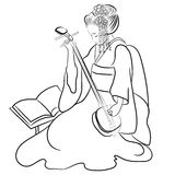 Black and White Illustration Asian Geisha Woman and Sakura Royalty Free Stock Photography