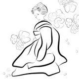 Black and White Illustration Asian Geisha Woman and Sakura Stock Photos