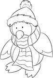 Black and white illustration of a baby penguin, dressed for winter, with scarf and hat, perfect for children`s coloring book. Beautiful black and white royalty free illustration