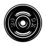 Black and white illustration of a barbell disk vector illustration