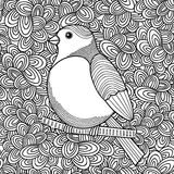 Black and white illustration of bird for coloring. Stock Photos