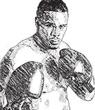 Black and white illustration of a black boxer fighter Stock Photo
